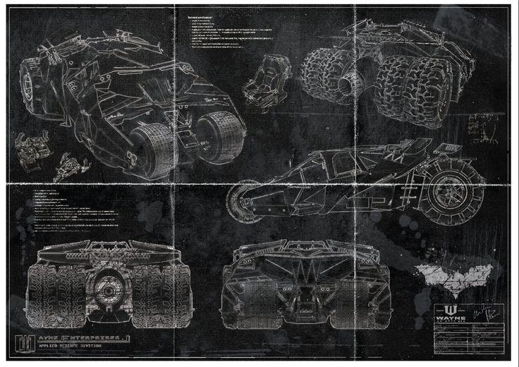 Batman Batmobile Tumbler Blueprint Art Print (A2 = 420mm594 or 16.5'  23.4')