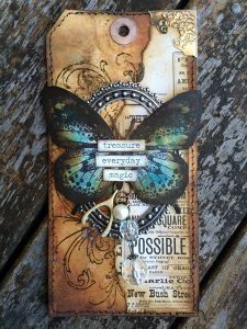 Vintage Butterfly Tag by Karen Knight - Lulu Art Design Team - www.luluart.com.au