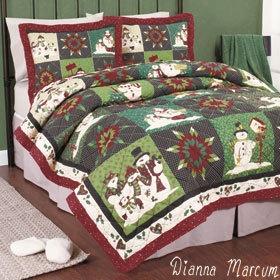 Dianna Marcum Snowman Snowflake King Quilt Bedding New