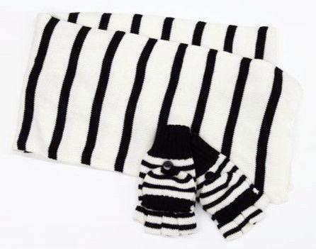2 Piece Striped Set - Black/White