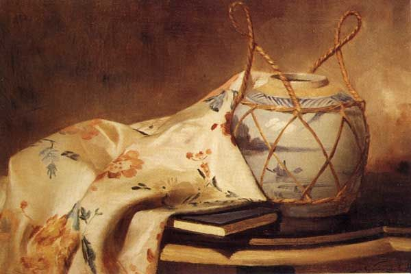 Jarrón y manta sevillana. -Alfredo Valenzuela Puelma (1856-1909)