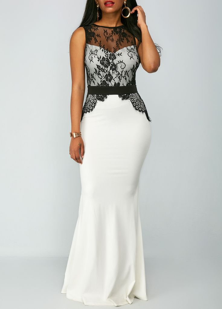 Black and White Lace Panel Sleeveless Fitted Evening Maxi Dress