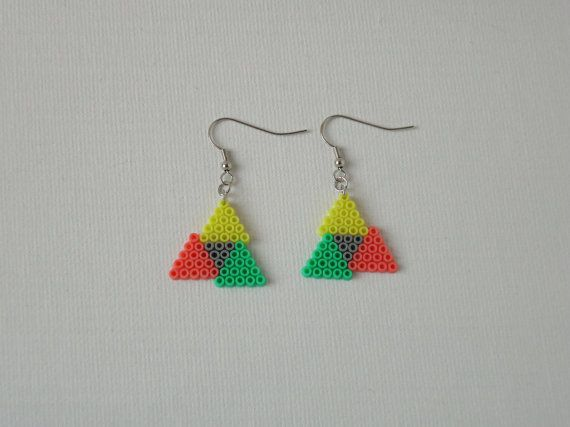 This item is a pair of earrings, made out of Hama mini beads. The smallest Hama bead. These tiny beads are 2.5mm diameter each. Measurements