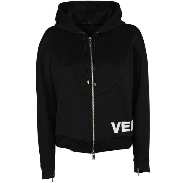 Zipped Logo Hoodie ($785) ❤ liked on Polyvore featuring tops, hoodies, nero, long sleeve tops, hooded sweatshirt, versace hoodie, hooded zipper sweatshirts and hooded top