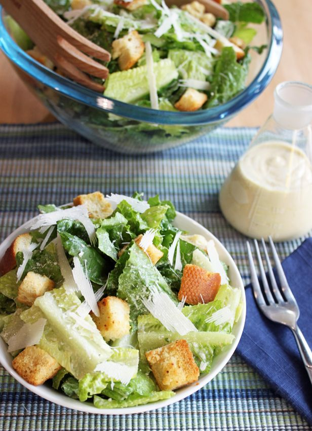 "Alton Brown's No Guilt Caesar Salad Recipe..""Most creamy Caesar dressings get that consistency from, well, cream, sour cream or mayo. This recipe gets it from tofu, which is almost 100 percent protein and is essentially fat-free. (Don't worry, you can't taste the tofu.)"""