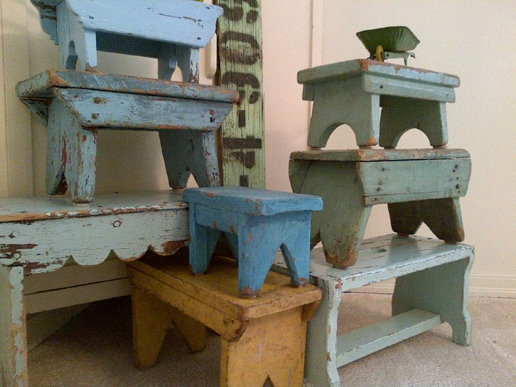 My painted cricket stool collection - I am always looking for more of these little jems!