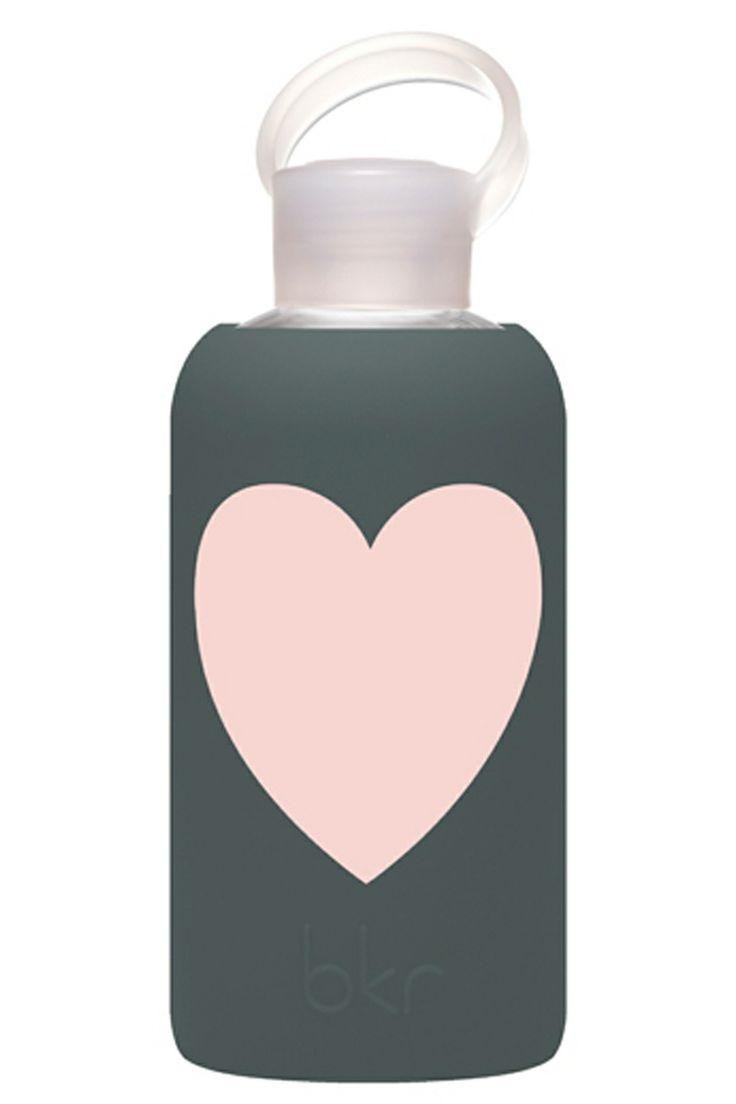 Green, luxe and beautiful this water bottle is made from non-toxic glass with a soft silicone sleeve to ensure your drinks stay chemical-free. Style Trend Clothiers - bkr Glass Water Bottle in Storm Heart, $35.00