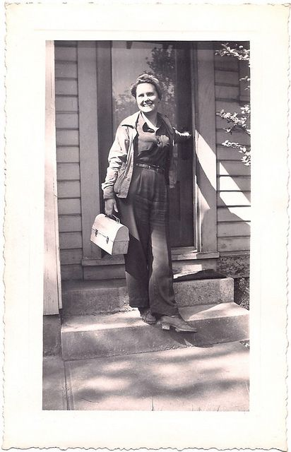 An everyday, working woman of the 1940s headed off to her war effort job in practical, but timelessly lovely style. ~