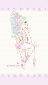 水森亜土 Romantic Ballerina|ライブ壁紙商品詳細|LOVE水森亜土(ラブ ミズモリアド)