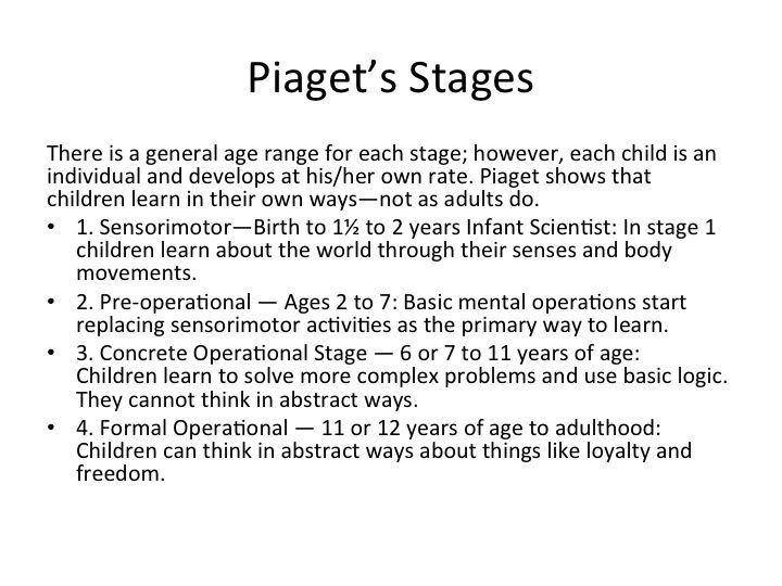 Stages Piaget theory