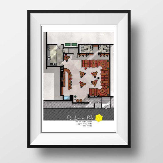 How I Met Your Mother Floor Plan Famous Tv Show Floor Plan Modern Art Poster For Maclaren S Pub Layout How I Met Your Mother Plans Modern How To Plan