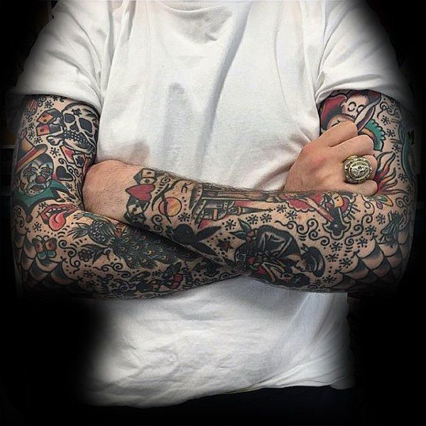 Both Arms Mens Traditional Sleeve Tattoos
