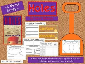 """Holes"" MEGA Activity Packet: A Novel Study of the book by Louis Sachar. 55 pages for only $5!"