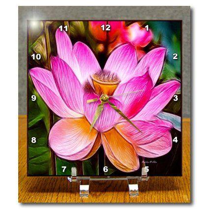 dc_18463_1 SmudgeArt Flower Art Designs - Hot Pink Lotus - Desk Clocks - 6x6 Desk Clock 3dRose http://www.amazon.com/dp/B00516BMWI/ref=cm_sw_r_pi_dp_3VQbwb18A1J4S