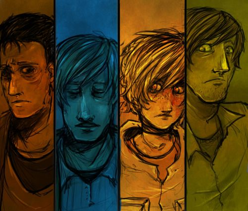 """imjustanormalmotherfucker:  """" FINALLY DONE. For a while ago though. Was just too lazy to upload.  It's Harry, James, Heather and Henry from Silent hill series.  THE BACKGROUND AND COLORING ARE SYMBOLIC AND SHIT IGNORE ITTTT.  """""""