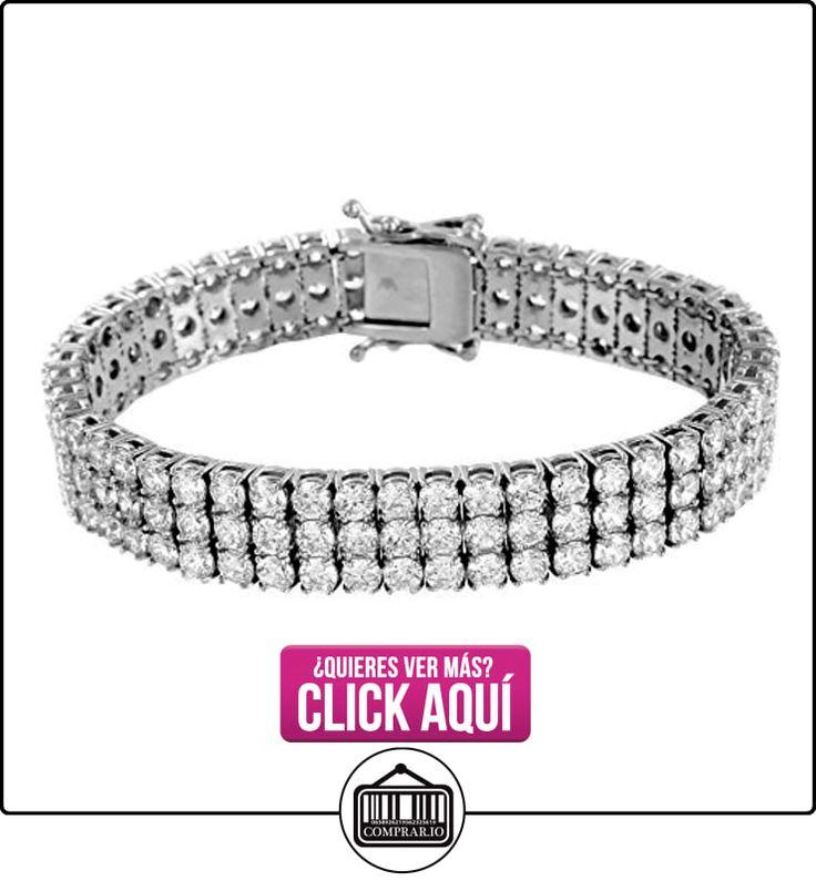 Pulsera de acero inoxidable oro blanco Acabado 14K Mens 3filas diamantes redondos Cut Lab  ✿ Joyas para hombres especiales - lujo ✿ ▬► Ver oferta: https://comprar.io/goto/B01A5WRE24