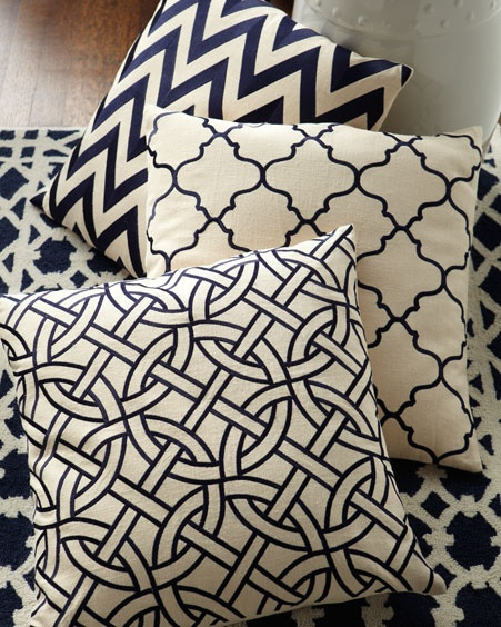 black and white pattern pillows