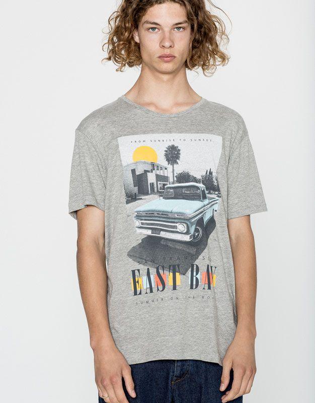 Pull&Bear - man - clothing - t-shirts - printed t-shirt - east bay - pale marl - 09239515-I2016