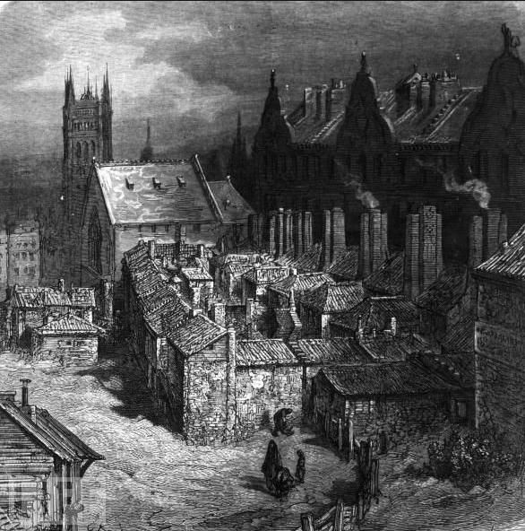 "The ""hell's acre"" area of London that had the outbreak of cholera.  This area became the setting for Dicken's Oliver Twist."