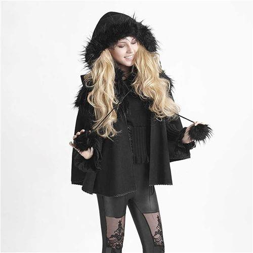 Black Dolly korte cape met nep bont en pom poms zwart - Gothic Lolita