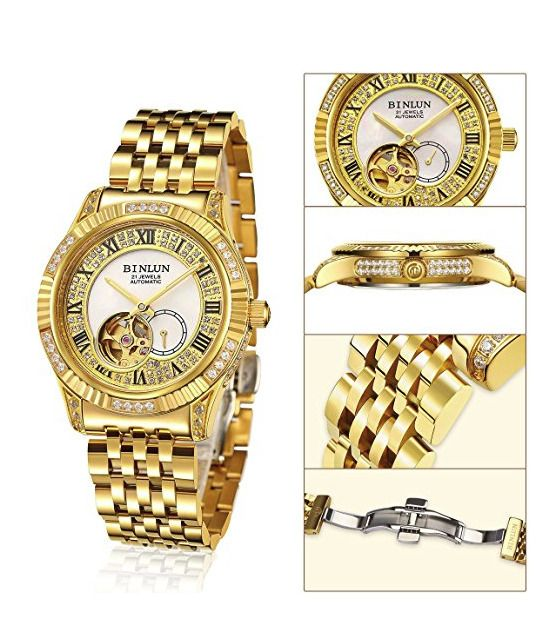 83b068b82c9 Binlun Mens Tourbillon 18 Karat Gold Plated Luxury Watch Free Priority  Shipping  BINLUN