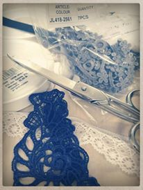 Choosing laces... From our designers room at Thessaloniki, Greece! #lace #scissors #Thessaloniki