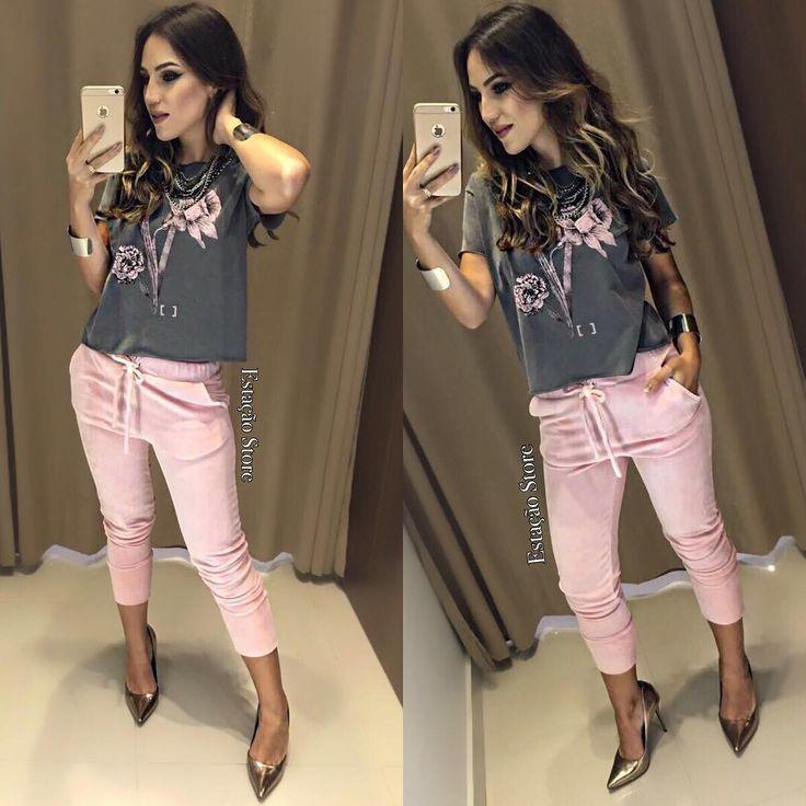"""5,499 curtidas, 155 comentários - Estação Store (@estacaostore) no Instagram: """"Blusa Tainara   Calça Layane Rosa  Compras on line: www.estacaodamodastore.com.br Whats app:…"""""""