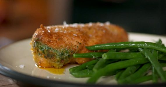 """Tom Kerridge serves up a tasty seventies favourite chicken kievs dish on Tom Kerridge's Best Ever Dishes as part of his 'Old Skool Favourites' recipes. Tom says: """"This decadent retro dish is as perfect for an everyday supper as it is for impressing friends at a dinner party. Serve with a crisp salad or steamed greens."""" The ingredients are: 100g butter, softened, 2 garlic cloves, peeled and grated, 1 tsp table salt, ½ tsp cayenne pepper, 3 tbsp chopped fresh parsley, 2 large skinless chicken…"""
