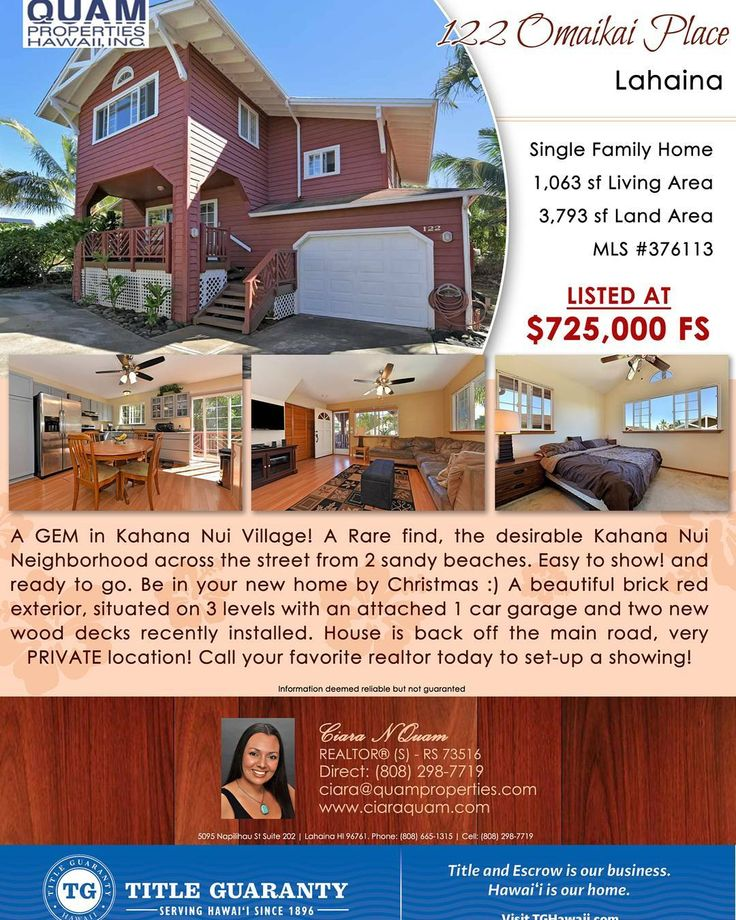 Don't miss out on this great home. Set-up a showing today by calling (808) 298-7719 or send an email to Ciara@quamproperties.com. #MoveToMaui #LuckyWeLiveMaui #Hawaii #IslandRealEstate