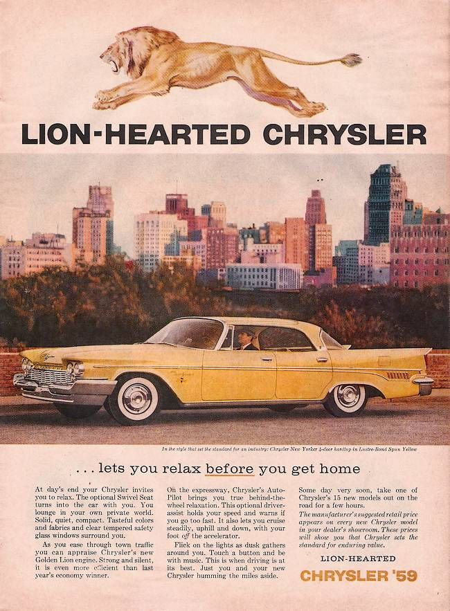 1959 Chrysler ad - Lion Hearted Chrysler