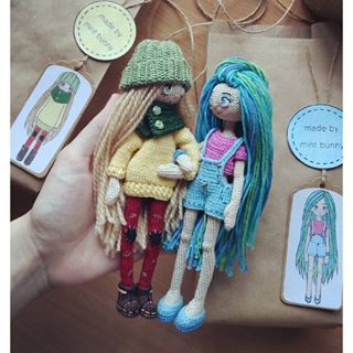 Amigurumi doll friends by Yulia, happy dollmaker✌ @mint.bunny. (Inspiration).