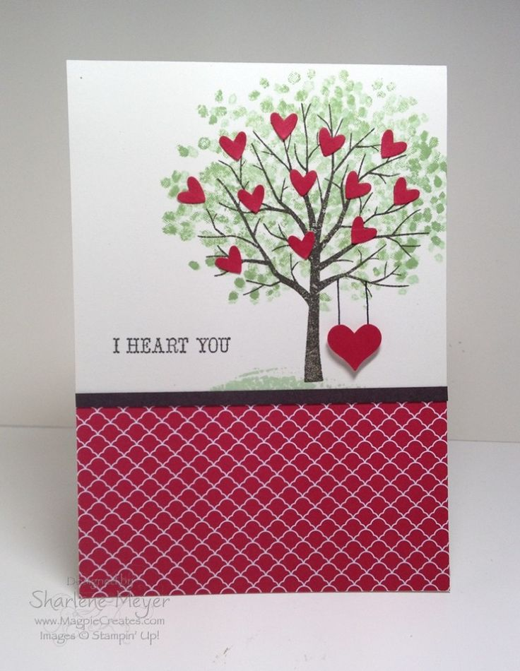 Sheltering Tree with 12 hearts for a wedding anniversary. Designed by Sharlene Meyer www.magpiecreates.com