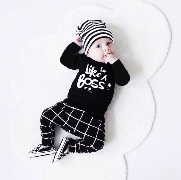 2016 baby girl clothes letter printed Long sleeves t-shirt+pants infant clothing 2pcs set newborn baby boy clothes sets