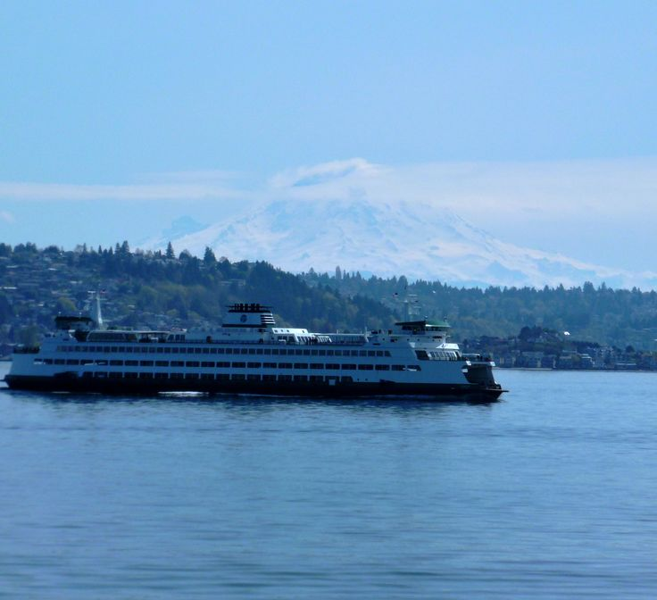 Coming across Puget Sound on the ferry with Mt. Ranier in the background.