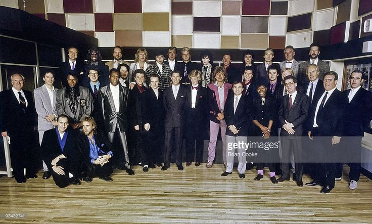November 19, 1985: L-R (back row) Phil Collins, Genesis, Ashley Ingram, Imagination, Ian Anderson, Jethro Tull, Rick Parfitt of Status Quo, John Keeble, Martin Kemp/ Steve Norman, Spandau Ballet, Nick Rhodes of Duran Duran, Kenney Jones of The Who, Bill Wyman/ Charlie Watts, The Rolling Stones, Gary Brooker of Procol Harum/ Eric Clapton; (mid row) unknown, Tony Banks, Genesis, Leee John of Imagination, Mike Read, Radio 1, Errol Kennedy of Imagination, Tony Hadley/ Gary Kemp, Spandau Ballet