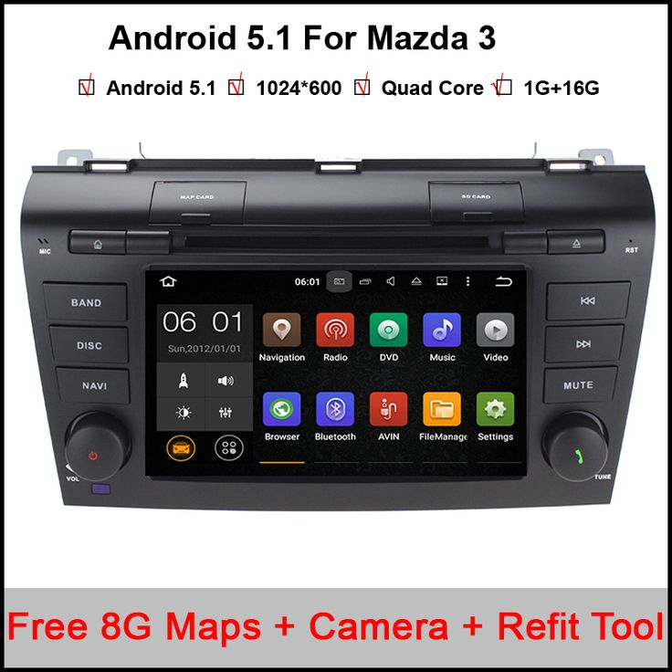 Quad Core Android 5.1.1 Fit Mazda 3 2004 2005 2006 2007 2008 Car DVD Player GPS TV 3G Radio WIFI Bluetooth Steering Wheel #Affiliate