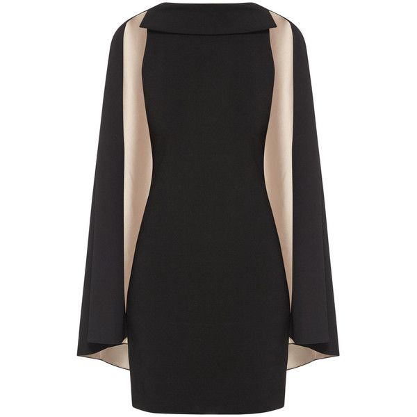 ALICE OLIVIA Neely Cape Dress ❤ liked on Polyvore featuring dresses, holiday dresses, bodycon evening dresses, holiday cocktail dresses, cocktail dresses and no sleeve dress