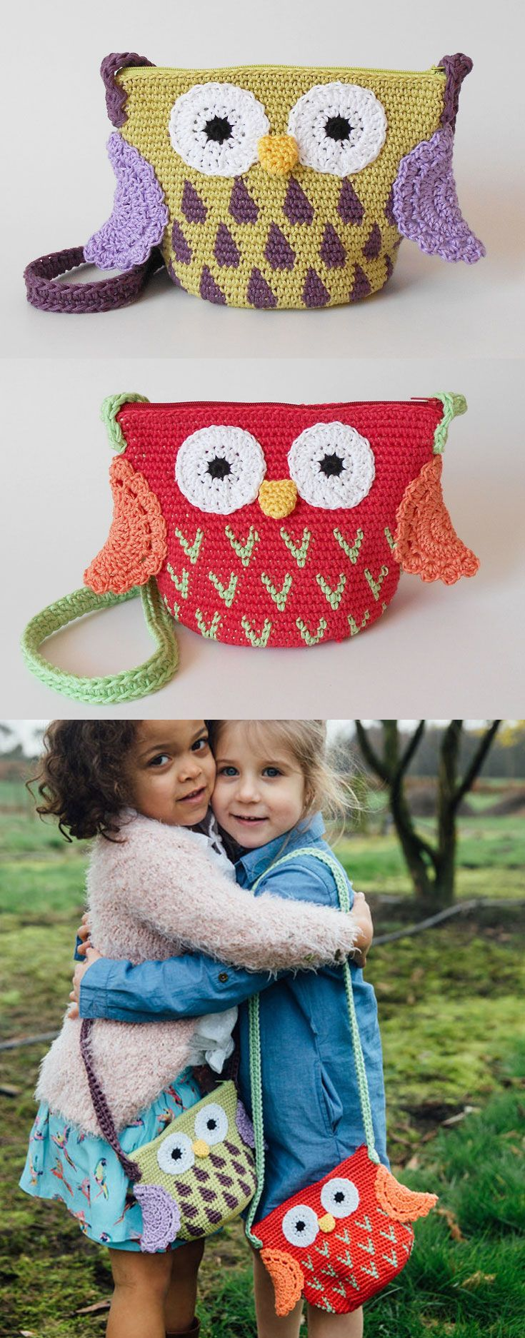 Owl bags with colorful details, the perfect gift for siblings, to share lovely and fun moments. A child's life is filled to the brim with different activities and outings, and what better way to keep it all organized than with cute and soft amigurumi bags?