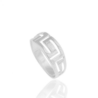 925 fine silver ring inspired by the famous greek design the Meander or Greek Key. Symbol of unity and eternity in ancient Greece, this repeated pattern appeared on architectural friezes, on pottery artefacts and jewellery. A discreet and classy piece of silver jewellery, which you will want to wear every day. A meaningful piece of silver jewellery for those who value the past and the present. Match it with greek design sterling silver earrings for amazing appearances.