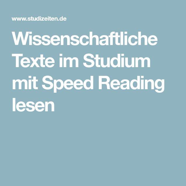 Wissenschaftliche Texte im Studium mit Speed Reading lesen
