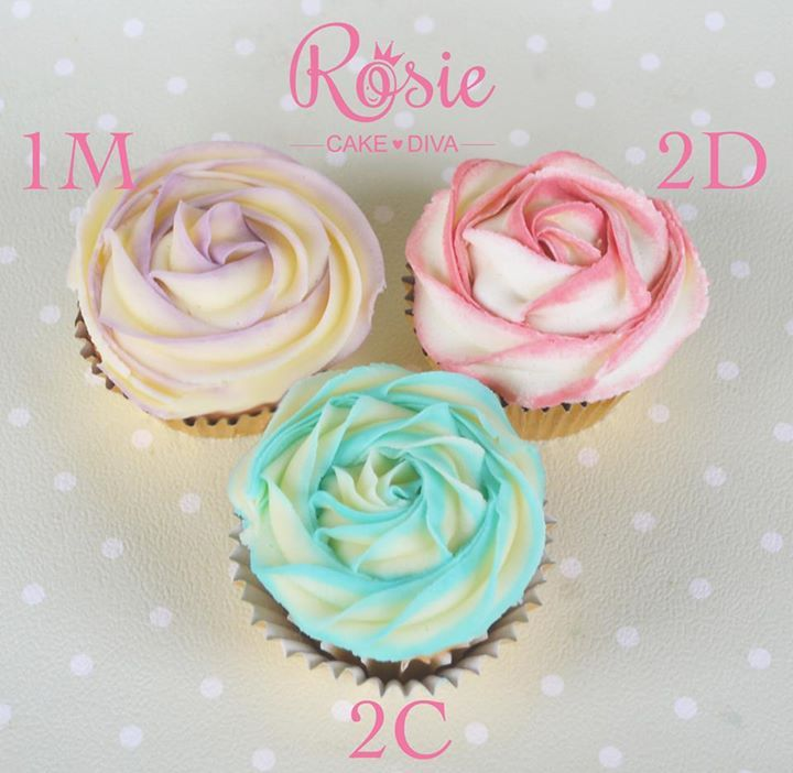 Different Wilton tips for different rose cupcakes