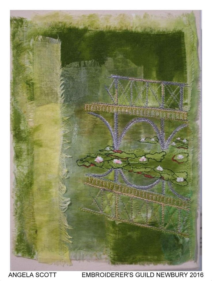 """""""Blenheim Bridge"""" by Angela Scott, Newbury branch of Embroiderers' Guild. Part of """"Celebrating 300 years of Capability Brown"""" exhibition at Blenheim Palace 13 April - 2 May 2016. Exhibition held as part of the UK's Capability Brown Festival"""