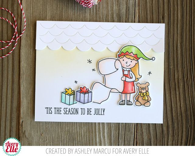 Ashley Marcu for Avery Ellle  Supplies Elf-tacular Clear Stamps Elf-tacular Dies Happy Home Dies