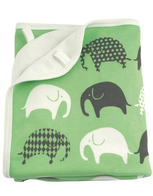 Elephant green/grey blanket