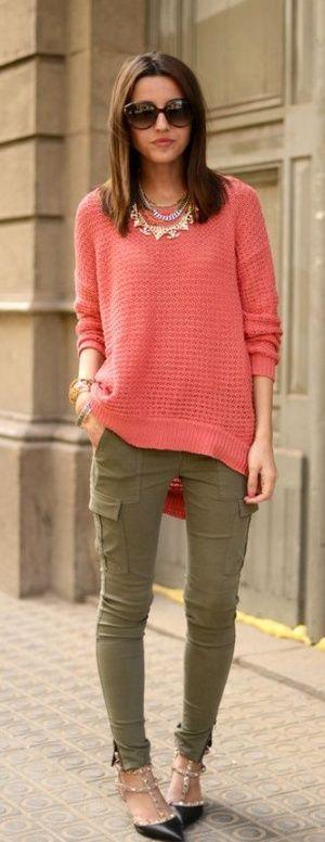 Coral And Khaki Pants Fashion Coral Sweater Green Pants