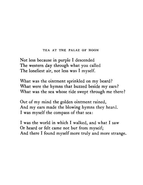 Tea at the Palace of Hoon, Wallace Stevens