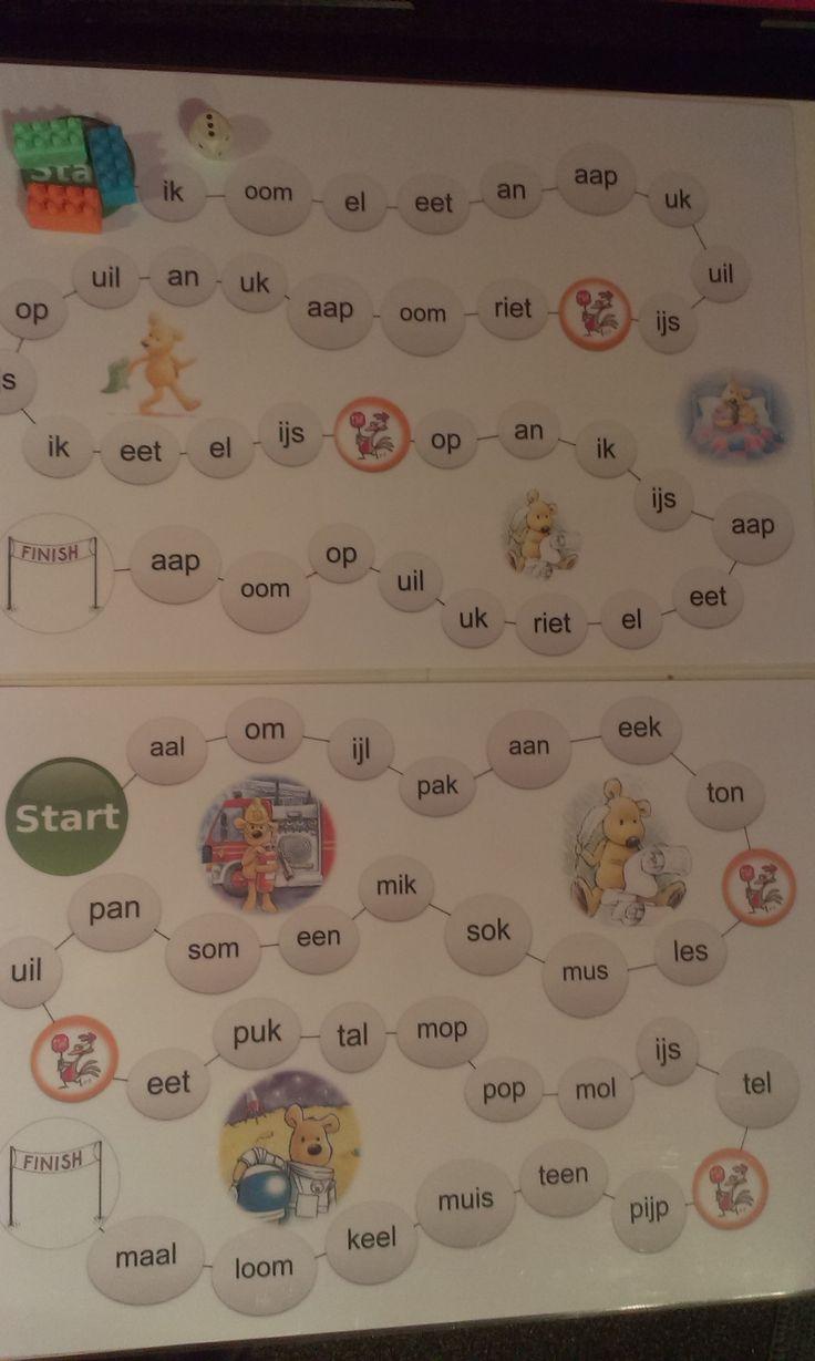 Spelbord (gemakkelijke & moeilijkere versie) [Leren llezen met Hup: Leessprong]
