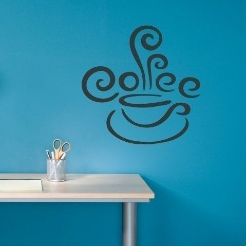 Coffee Decal Cup with Steam Vinyl Wall Art. $16.50, via Etsy.