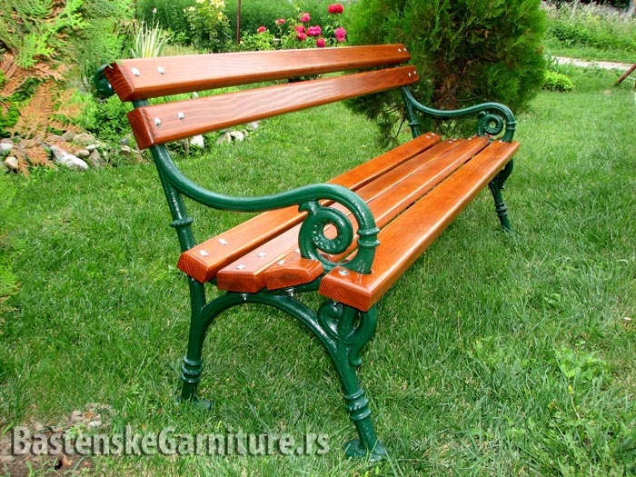 park benches made of cast iron and wood