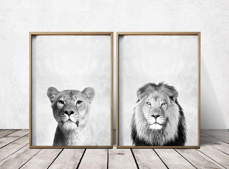 Lion Print  - Nursey Prints - Nursery Decor - Animal Print - Nursery Art - Lion Art - Animal Print by PrintEclipse on Etsy https://www.etsy.com/listing/399226821/lion-print-nursey-prints-nursery-decor
